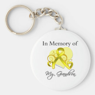 Grandson - In Memory of Military Tribute Basic Round Button Keychain