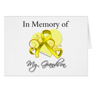 Grandson - In Memory of Military Tribute Greeting Card