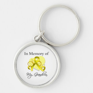 Grandson - In Memory of Military Tribute Silver-Colored Round Keychain