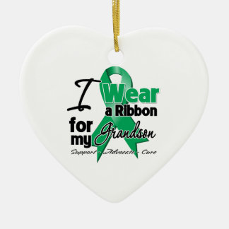 Grandson - Liver Cancer Ribbon.png Double-Sided Heart Ceramic Christmas Ornament