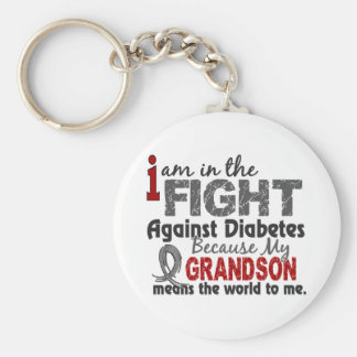 Grandson Means World To Me Diabetes Basic Round Button Keychain