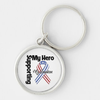 Grandson - Military Supporting My Hero Silver-Colored Round Keychain