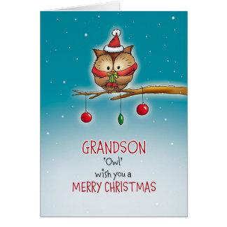 Grandson, owl wish you a Merry Christmas Card