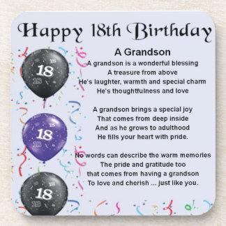 Grandson Poem - 18th Birthday Drink Coaster