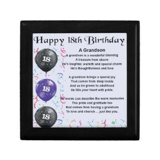 Grandson Poem - 18th Birthday Keepsake Boxes