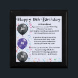 "Grandson Poem - 18th Birthday Keepsake Box<br><div class=""desc"">A great gift for a grandson on his 18th birthday</div>"