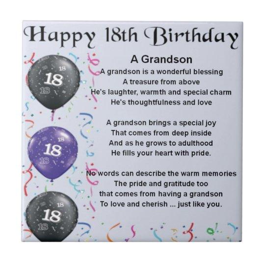 Grandson Poem 18th Birthday Tile Zazzle Com