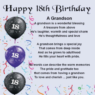 Grandson 18th Birthday Gifts On Zazzle