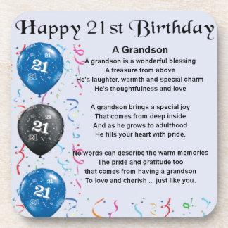 Grandson Poem  -  21st Birthday Beverage Coaster