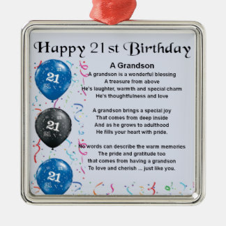 Grandson Poem  -  21st Birthday Metal Ornament