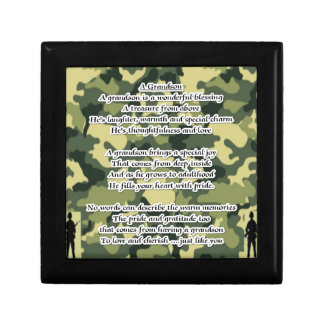 Grandson Poem Army Camouflage Jewelry Boxes