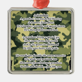 Grandson Poem Army Camouflage Square Metal Christmas Ornament