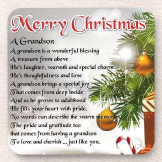 Grandson Poem - Christmas Design Coaster