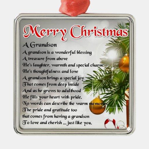 Grandson Poem - Christmas Design Silver-colored Square Decoration