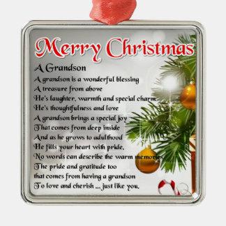 Grandson Poem - Christmas Design Square Metal Christmas Ornament