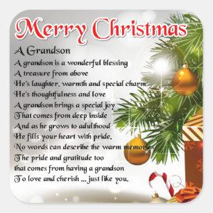 Christmas Blessing Poem.Grandson Poem Christmas Design Square Sticker