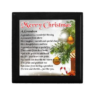 Grandson Poem - Christmas Design Trinket Boxes