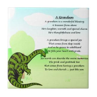 Grandson Poem - Dinosaur Ceramic Tile