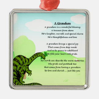 Grandson Poem - Dinosaur Metal Ornament