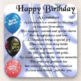 Grandson Poem  -  Happy Birthday Coaster