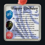 """Grandson Poem  -  Happy Birthday Metal Ornament<br><div class=""""desc"""">A great gift for a grandson on his birthday</div>"""