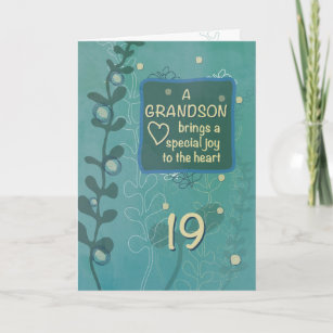Grandson Religious 19th Birthday Green Hand Drawn Card