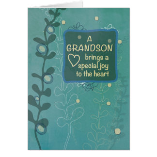 Grandson Religious Birthday, Green Hand Drawn Look Card