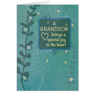 Grandson Religious Birthday, Green Hand Drawn Look Card
