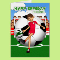 Grandson Soccer Football Birthday Greeting Card