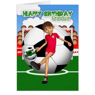 Grandson Soccer Football Birthday Greeting Card