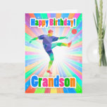"Grandson Soccer Player Birthday Colorful Abstract Card<br><div class=""desc"">A bright birthday card for your loved one,  with soccer player / football player,  and lots of fab bright colors,  modern and stylish with abstract shapes.</div>"