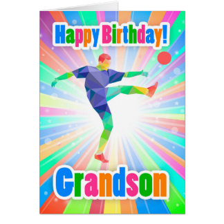 Grandson Soccer Player Birthday Colorful Abstract Card