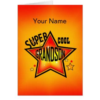 Grandson Super Cool Star Greeting Card