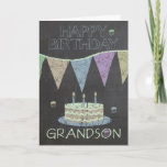 "Grandson Trendy Chalk Board Effect Birthday Card<br><div class=""desc"">A modern Chalkboard Effect Birthday Greeting Card With Cakes And Banners</div>"