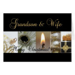 Grandson & Wife Christmas black & White & Gold Greeting Card