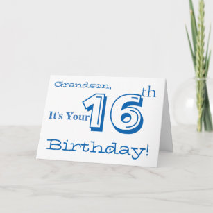 Grandsons 16th Birthday Greeting In Blue White Card