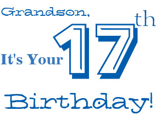 Funny grandson birthday cards zazzle grandsons 17th birthday greeting in blue white card m4hsunfo