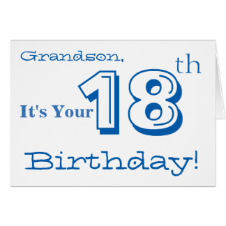 Grandson's 18th birthday greeting in blue & white. card