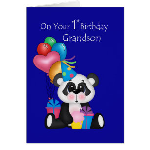 Panda birthday cards greeting photo cards zazzle grandsons 1st birthday panda and balloons card bookmarktalkfo Image collections