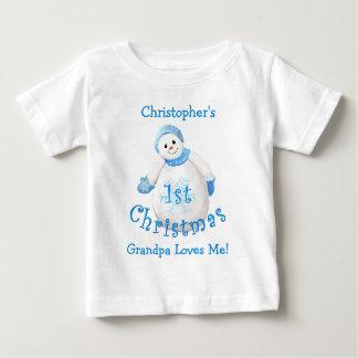 Grandson's 1st Christmas Snowman from Grandpa Baby T-Shirt