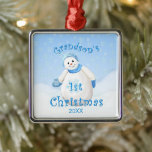 """Grandson's 1st Christmas Snowman Ornament<br><div class=""""desc"""">Cute little snowman wearing blue winter hat,  scarf and mittens as delicate snowflakes fall through the winter sky is a delightful Christmas design for grandson's first Christmas ornament.  We specialize in custom-made designs,  so contact us if you would like a unique made-to-order layout using this snowman design.</div>"""