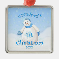 Grandson's 1st Christmas Snowman Ornament at Zazzle