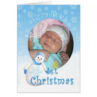Grandson's 1st Christmas Snowman Photo Greeting Ca Card