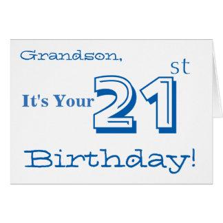 Grandson's 21st birthday greeting in blue & white. card