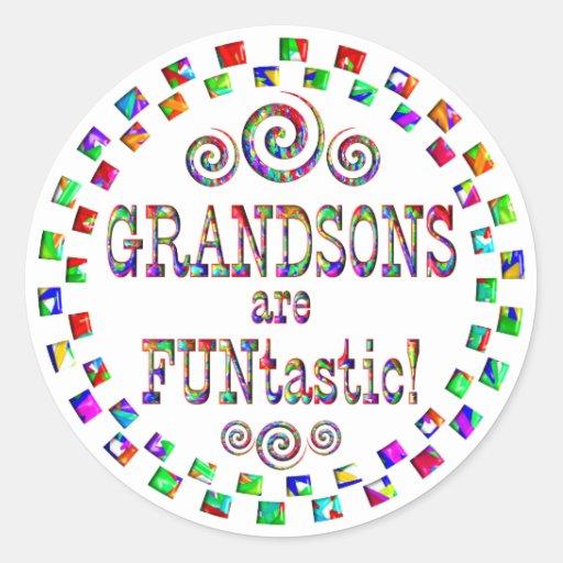 Grandsons are FUNtastic Classic Round Sticker