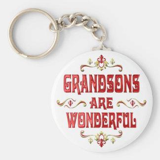 Grandsons are Wonderful Basic Round Button Keychain