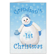 Grandson's First Christmas Snowman Greeting Card at Zazzle