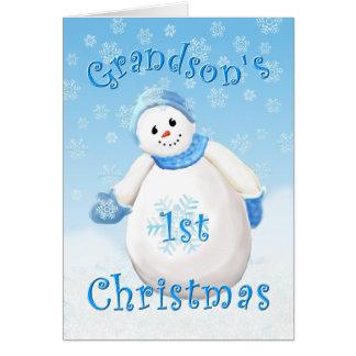 Grandson's First Christmas Snowman Greeting Card