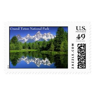 GrandTeton, parque nacional magnífico de Teton Timbre Postal