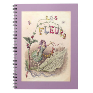 Grandville's flowers spiral notebook